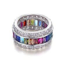 Luxury 925 Sterling Silver Pretty Multi-color Morganite Gemstone Rings Size 9