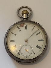 Antique Open Face Silver Omega Case Gents Pocket Watch Works 51mm
