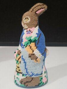 "Vintage 7"" Standing Needlepoint Rabbit/Bunny Decorative Pillow"