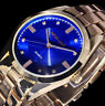 Excellanc Damen Uhr Armbanduhr Blau Gold Gold Farben Metall Strass