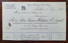 1890 John Hunter, Wiltshire, (Cigars & Tobacco Importer) St. Mary Axe Invoice