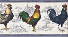 Elegant Colorful Roosters Wallpaper Border on Blue Toile Background  63296620