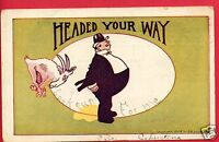 COMIC HEADED YOUR WAY BILLYGOAT BUTTING MAN HAGELBERGER MONTPELIER OH  POSTCARD
