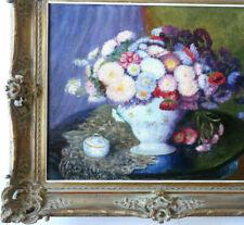 Fleurs dans un Vase de Porcelaine HST 1880 Signé en Rouge Beau Cadre XIX