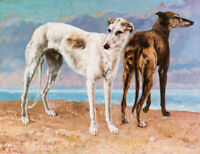 The Greyhounds Gustave Courbet Dogs Painting Print Canvas Giclee Repro Small Art