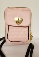 Betsey Johnson Heart Swag North South Mini Crossbody Handbag in Blush Pink - New