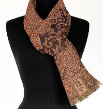 Wool, Jamavar Scarf or Shawl. Burgundy & Red. Paisley, Jamawar, India Wrap