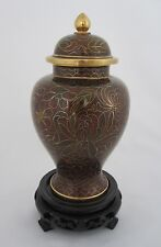 "6 1/2"" Chinese Beijing Cloisonne Keepsake Cremation Urn Brown - New"