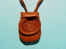 MEDICINE BEAR BAG Deer Leather Flap Pouch Buckskin Necklace Medicine Bag 1004