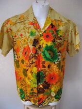 Vintage 60s Hawaiian Shirt Medium Custom Made by Harriet's Beige Floral Print M