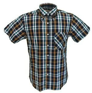 Real Hoxton Orange/Mustard Checked Short Sleeved Button Down shirts …