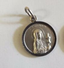 Sterling Silver St Clare of Assisi Medal Patron of TV and Needlepoint Antique Reproduction