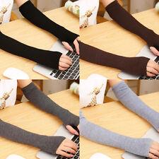 1 Paire Femme Gants Mitaines Manchette Longue Manches Bras Tricoté Hiver Stretch