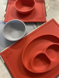 ezpz Happy Mat - Three piece silicone placemat + plate Coral Gray - Suction