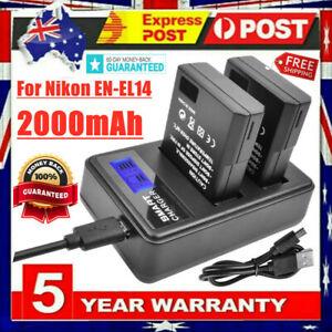 2x EN-EL14 EN-EL14a Battery + LCD Dual Charger for Nikon D3100 D3200 D5100 D5200