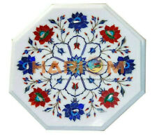 """12"""" Marble Side Coffee Table Top Lapis Carnelian Floral Inlay Kitchen Decor W385"""