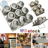 6/9pcs Magnetic Spice Jars Spice Tins Cans Holder Storage Seasoning Containers