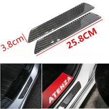 2Pcs Real Carbon Fiber Car Scuff Plate Rear Door Sill Cover Panel Step Protector
