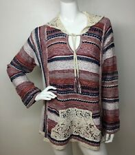 American Rag New Woman 0X Hoodie Multi/Color Printed V/Neck Lace Sweater Top NWT