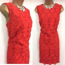 Debenhams Dress Size 16 petite Red Lace Party Evening Occasion Holiday C449