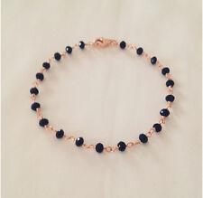Bracciale rosario cristalli chiusura argento 925 placcata oro rosa