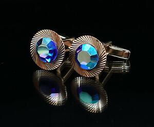VTG SAPPHIRE BLUE AURORA BOREALIS CRYSTAL DIAMOND CUTTING ST STEEL CUFFLINKS
