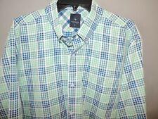 Tailorbyrd Blue Green Mosaic Button Front Mens 100% Cotton LS Shirt SZ XL Mint