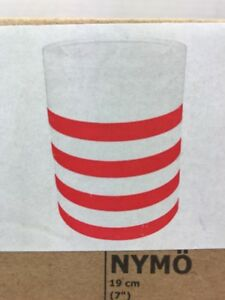 """New In Box Ikea NYMO Lamp Shade White with Red Stripes 7"""" 19 cm"""
