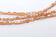10 Faceted Crystal CUBE Beads, Precision Cut, AMBER Topaz AB, 6mm bgl0608