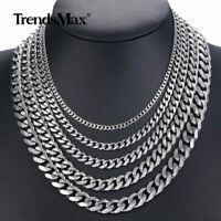 """1/2Pcs 18-36"""" Mens Chain Stainless Steel Curb Cuban Link Necklace 3/5/7/9/11MM"""