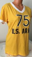 NEW PINK VS COLLEGIATE COLLECTION 75 U.S. ARMY LOGO MEDIUM YELLOW T-SHIRT #4749