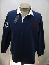 Polo Ralph Lauren XL Mens Big Pony Navy Blue White Red Rugby Button Shirt Jacket