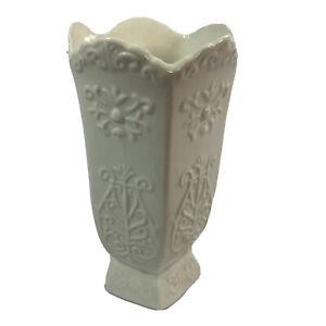 Flower Vase Ceramic Impressed Embossed Design Art Deco Farmhouse Decor