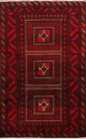 Tribal Geometric Balouch Afghan Oriental Area Rug Hand-knotted Foyer Carpet 4x6