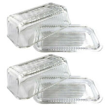 2x Kitchen Works Glass Butter Dish w/ Lid Container/Holder Storage Clear