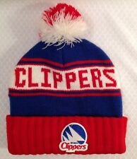 Vintage San Diego LA Clippers Basketball Pom Beanie Toque Cap Blue Red Knit Hat