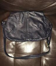 Black Leather Fold-Over Shoulder-strap Stylish Purse Excellent Condition