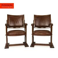 ANTIQUE 20thC EDWARDIAN MAHOGANY & LEATHER CINEMA / THEATRE CHAIRS c.1900
