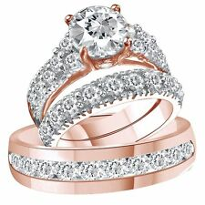 10k solid rose gold over dvvs1 diamond trio bridal wedding ring band set - Rose Gold Wedding Ring Set