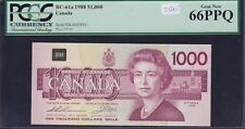 Highest Denomination - 1988 Bank of Canada $1000 - Rare PCGS Gem New 66 PPQ