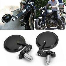 """Motorcycle CNC Aluminum Rearview 3"""" Handle Bar End 7/8"""" Side Mirrors Round Black"""