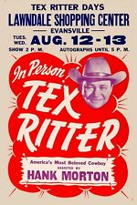Country Great:Tex Ritter Concert Poster 1960   12x18