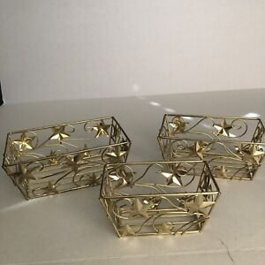 Set of 3 Brass-Plated Metal Wire Rectangle Nesting Storage Baskets Stars Vintage