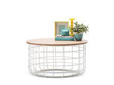 Retro Scandinavian Danish Industrial WHITE ASHWOOD Timber Oak Round Coffee Table