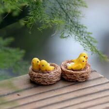 Miniatures Moss Resin Crafts Figurines New Mini Nest with Birds Fairy Garden