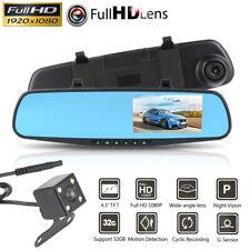 4.3'' 1080P Dual Lens Car DVR Mirror Dash Cam Recorder Rearview Reversing Camera