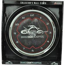 Bioworld Orange County Choppers Glass Motorcycle Wall Clock Collectors Pendulum