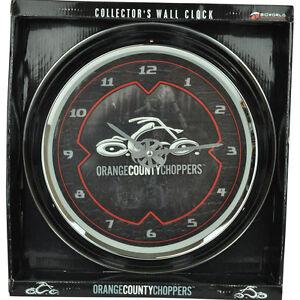 Bioworld Orange County Choppers Verre Moto Mur Horloge Collectionneurs Pendulum