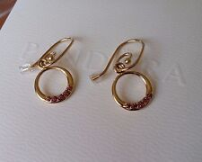 Pandora 14K Gold & Rhodolite Compose Earrings #250445RHL and posts #250402. New.
