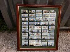 More details for framed set vintage cigarette cards churchman ships boats navigation 2sided glass